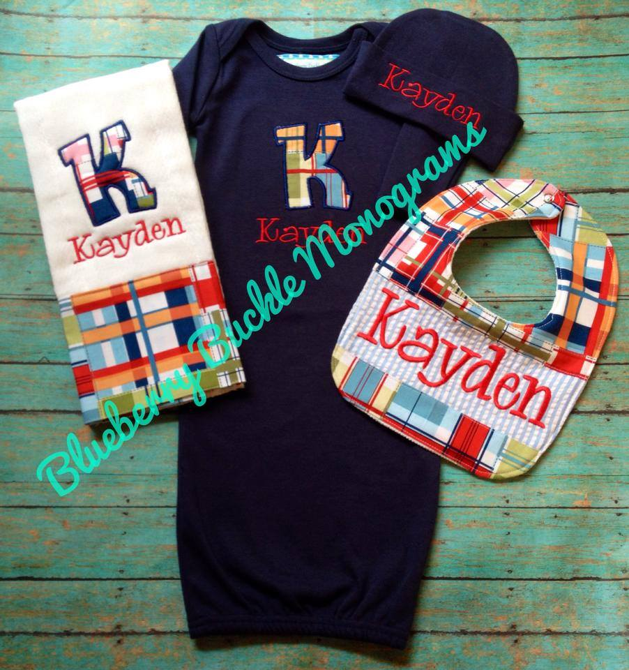 Newborn BOY 4pc Gift Set with Applique Name on Gown