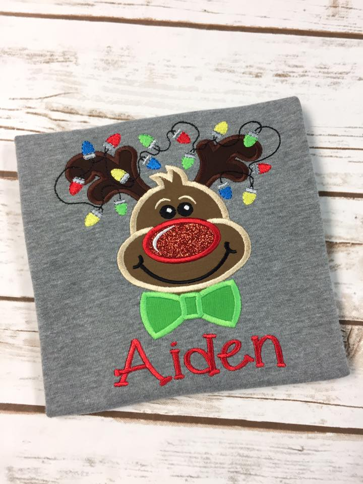 Boys Reindeer Christmas Shirt Applique