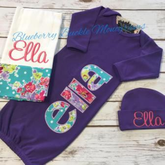 Newborn 3 pc Gown Set - Purple Garden
